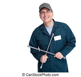 Auto mechanic with a wheel wrench Isolated on white...