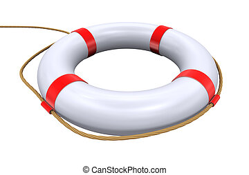 3d lifebuoy ring - lifesaver - 3d Illustration of isolated...