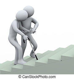 3d man helping old man - 3d illustration of person...