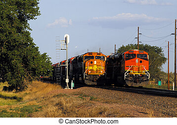 Passing Trains - Two orange trains passing each other near...