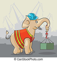 Elephant is a crane - The cartoon elephant lifts a heavy...