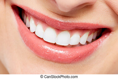 Beautiful woman smile Dental health care background