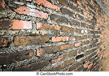 Old red brick wall background grunge style
