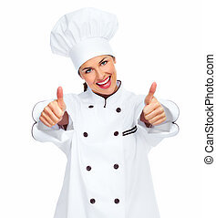 Chef woman Isolated over white background