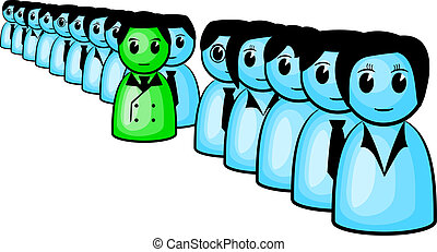 standing out from the crowd - vector illustration of a...
