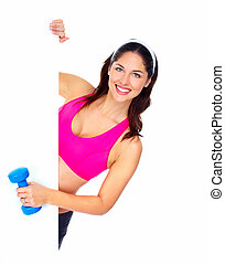 Young beautiful fitness woman Isolated on white background