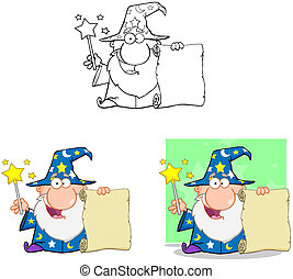 Wizard Characters.Collection.4 - Happy Wizard Cartoon...