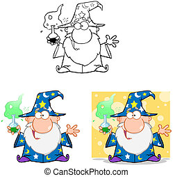 Wizard CharactersCollection 6 - Happy Wizard Cartoon...