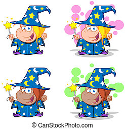 Wizard Girl Waving With Magic Wand
