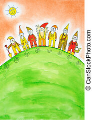 Seven dwarfs, childs drawing, watercolor painting on paper