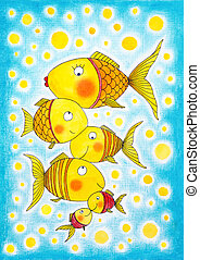 Group, gold, fish, child's, drawing, watercolor, painting,...