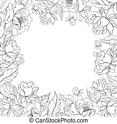 Frame of Peony. - Frame of Peony isolated on white. Vector...