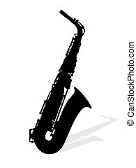 saxophones - Illustration of saxophone with shadow.