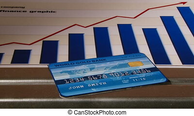 Light blue Credit card, finance graphic in background