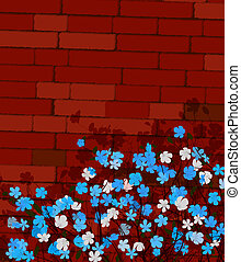 Blue flowers on a wall, absrtact art