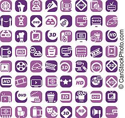 cor, grande, jogo,  cinema, ícones