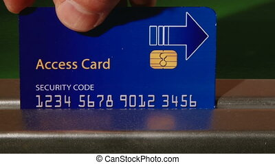 Access Card, blue, closeup