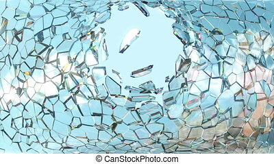 Shattered window glass with slowmo - Shattered window glass...
