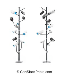 3d security cameras surveillance concept isolated on white...