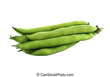 broad bean pods and beans on white background with a...