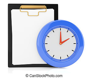 clipboard and clock