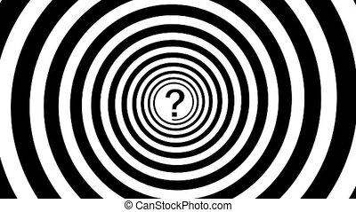 Hypnotic spiral and question mark