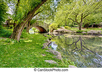 A Bridge in the Park - A stone bridge in Central Park, NY...