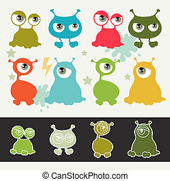 Collection of cute cartoon little monsters.