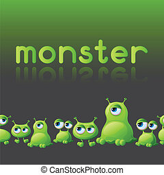 Abstract background with cute monsters