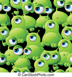 Abstract seamless pattern with cute monsters