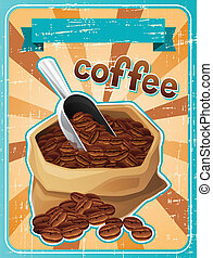 Poster with a bag of coffee beans in retro style