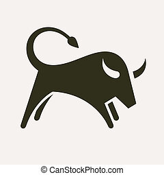 Bull silhouette - Bull, abstract vector illustration
