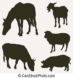 Farm animals, vector silhouettes