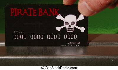 Pirate Bank Credit Card, close up