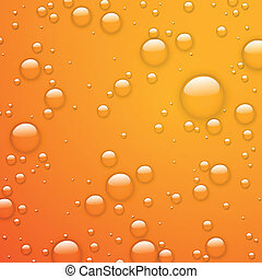 Vector Water Drops on an Orange Background