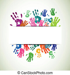 Vector Background with Colorful Handprints - Vector...