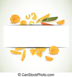 Vector Background with Various Pasta Types - Vector...