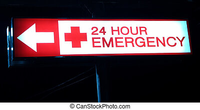 Hospital emergency sign - Hospital emergency red neon light...