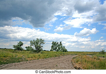 Ukrainian steppe - The fall approaches Heavy clouds hung...