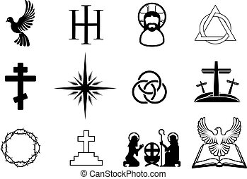 Christian icons - A set of Christian religious signs and...