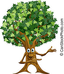 Tree man pointing illustration - Drawing of a happy friendly...