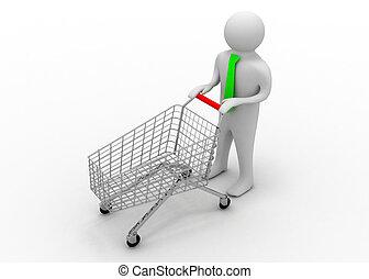 3d man and cart