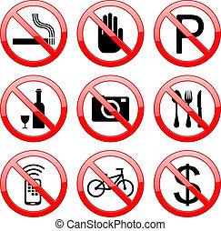 No Sign Icons - Vector No Sign Stop Sign: no smoking no...