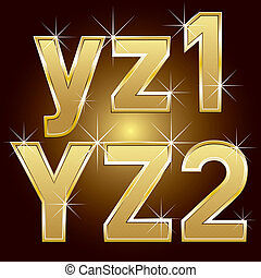 Golden Letters and Numbers Big and Small - Vector set of...