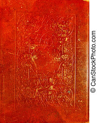 Old red leather texture with decora