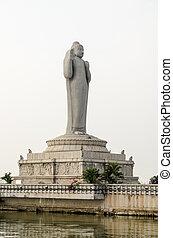 Buddha Statue, Hussain Sagar, India - View from the lake...