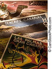 canary islands tourism - canary islands retro tourist cards