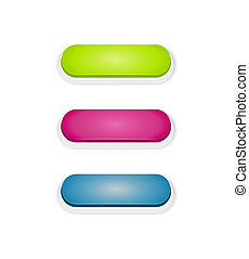 push button - Set of green, purple and blue blank push...