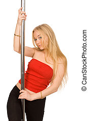 at a pole - The beautiful blond woman at a pole
