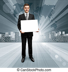 Business People against Conceptual Background - Business...